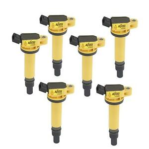 Accel 140495 6 Coil Super Coil Pack Style Socket Epoxyyellow Set Of 6