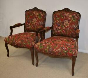 Pair French Style Chairs By Sherill Furniture Red Tapestry Birds Plums Flowers