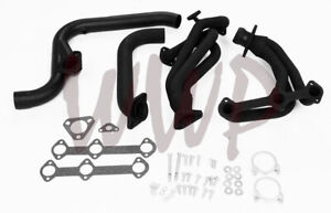 Black Coated Exhaust Header System 85 90 Chevy Camaro Base lt rs sport 2 8l V6