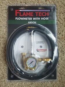 Flame Technologies 100 fl ar 60 580h Argon Flowmeter With Hose Brand New