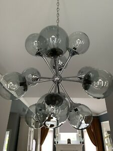 Lightolier Mid Century Modern Chrome Sputnik Chandolier Light 12 Arm W Globes
