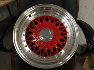 Set Of Four 15 Red Machine Lip Rs Style Rims Wheels Fits 4x100