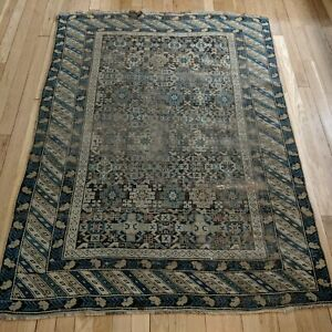 Antique Rug 3 9 X 5 1 Brown Worn Caucasian Shirvan