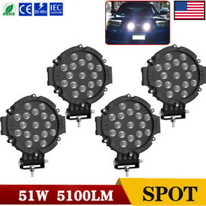 4x 7inch 51w Round Led Work Lights Bull Bar Driving Pods Bike Truck Off Road 4wd