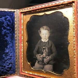 1 6 Plate Daguerreotype Of A Boy Holding A Porcelain Staffordshire Dog Full Case