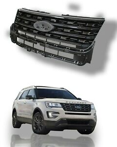 For 2016 2017 Ford Explorer Front Bumper Grille Gray Black Glossy Fb5z 8200 ba
