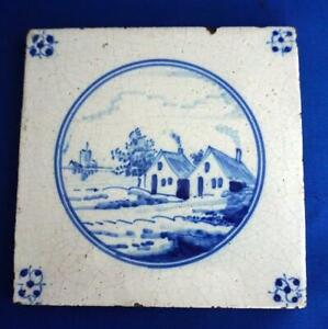 Dutch Delft Blue And White Hand Painted Ceramic Wall Tile