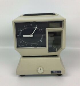 Amano Tcx 11 Time Clock Recorder Electronic Analog Lcd With Key