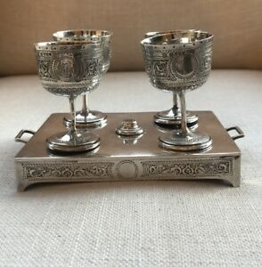 Antique English Sterling Silver 4 Egg Cup Cruet Set Cordial Vodka Stand Tray