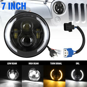 7 Led Headlight W White Halo Angel Eye Drl Amber Turn Signal F Jeep Wrangler