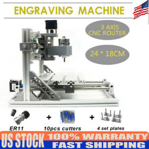 Grbl Controller 2418 3axis Cnc Routers Laser Engraving Machine Kit Drill Bits Us