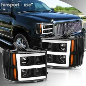 For 2007 2013 Gmc Sierra 1500 2500 3500 Hd Black Amber Led Drl Headlights Lamps