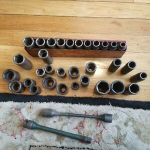 Mac Other 33pc 1 2 Drive 6 Point Metric Sae Standard Deep Impact Socket Set Lot