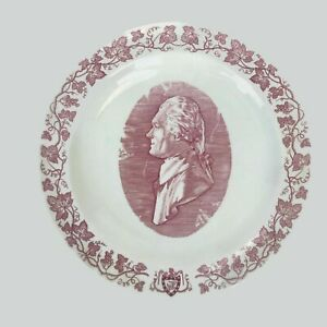 Vintage Thomas Jefferson Monticello Wedgwood England Red Transferware Plate 10