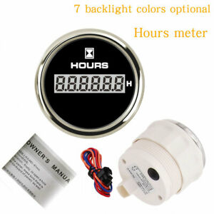 52mm 2 Hours Meter 7 Colors Blacklight For Race Cars Boat Engine Waterproof