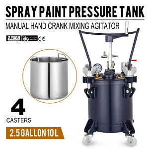 10 Liters Spray Paint Pressure Pot Tank Mixing Agitator 1 4 Air Outlet Gallon