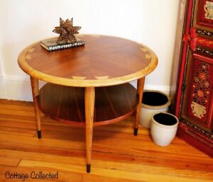 Lane Acclaim Mcm Dovetail End Table With Round Top And One Shelf Refinished