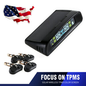 Wireless Tpms Solar Car Tyre Pressure Lcd Monitoring System 4 Internal Sensor