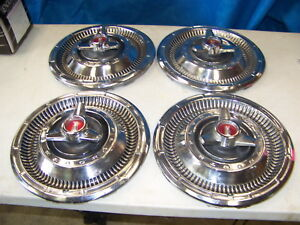 1966 Plymouth Satellite 14 Spinner Hubcaps Oem Set Of 4