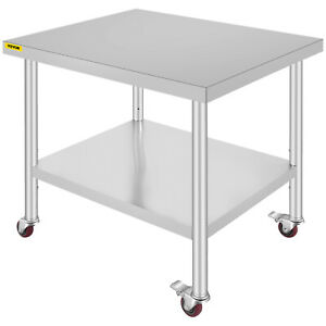 Work Table With Wheels 30 x36 Commercial Kitchen Stainless Steel 4 Casters