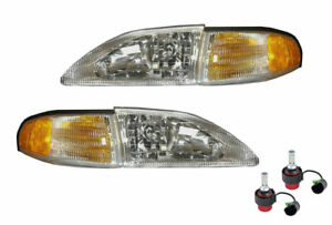 1994 1998 Mustang Cobra Headlights 4 Piece Set Amber Sides 9007 6500k Led Bulbs