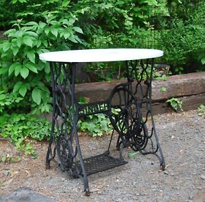 Antique Singer Treadle Sewing Machine Cast Iron Base With Marble Top For Table