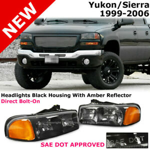 For Gmc Sierra Yukon 99 06 Black Chrome Clear Housing Headlight Amber Corner