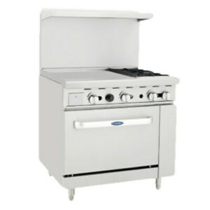 Atosa Ato 24g2b 36 Cookrite Gas Restaurant Range With 2 Burners And 24 Griddle