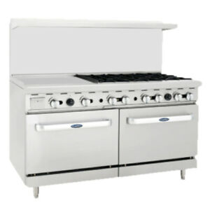 Atosa Ato 24g6b 60 Cookrite Gas Restaurant Range With 6 Burners And 24 Griddle