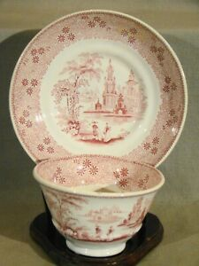 Antique Staffordshire Wood Challinor Pink Transfer Mesina Tea Bowl Saucer