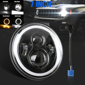 7 80w Round Cree Projector Led Headlight W Halo For Jeep Wrangler Jk Lj Tj