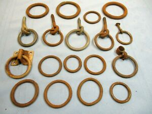 18 Piece Lot Old Barn Rings Secure Farm Animals Repurpose Artist Metalsmith