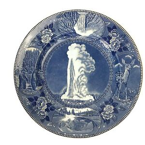 Vintage Yellowstone Park Old Faithful Geyser Blue Transferware Souvenir Plate