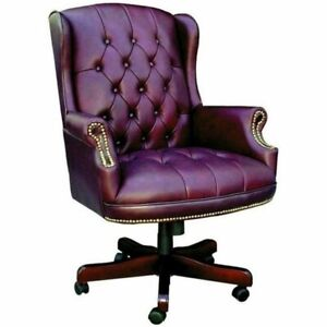 Pemberly Row Faux Leather Upholstered Office Chair In Oxblood