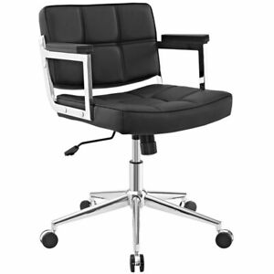 Modway Portray Mid Back Upholstered Faux Leather Office Chair In Black