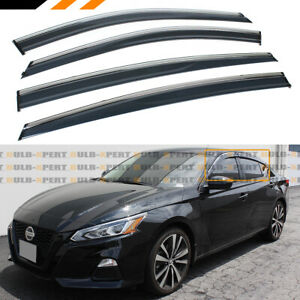 For 19 2020 Nissan Altima Chrome Trim Clip on Window Visor Rain Guard Deflector