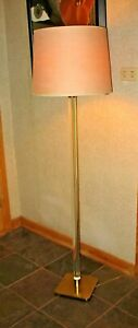 Vintage Mid Century Paul Hanson Glass Brass Floor Lamp Hollywood Parzinger Era