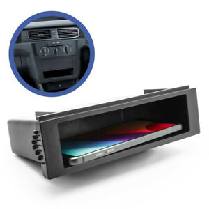Black Car Double 1 Din Dash Cup Holder Storage Box For Stereo Radio Universal