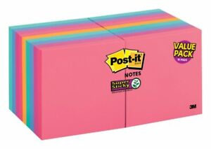 Post It Super Sticky Notes 3 X 3 Assorted Colors Pack Of 18 Pads