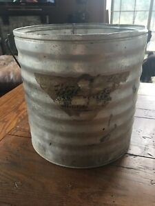 Vintage 10 Antique Galvanized Metal Bucket Pail W Handle Corrugated No Holes M