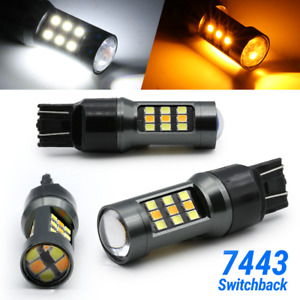 White Amber 7443 7440 7444 Led Drl Switchback Turn Signal Parking Light Bulbs