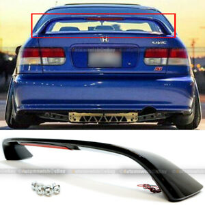 For 96 00 Honda Civic Si Glossy Black Trunk Spoiler Wing Led Brake Light Lamp