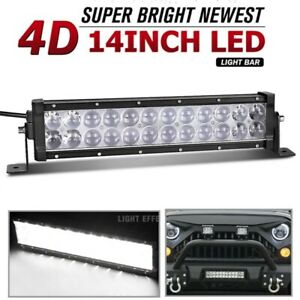 14inch Led Light Bar 168w Flood Spot Offroad 13 Driving For Jeep 4wd Rzr Atv