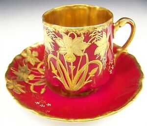 Limoges Hand Painted Raised Gold Daffodils Demitasse Cup Saucer
