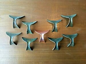 Lot Of 9 Solid Copper Drawer Pulls Whale Tail Style 1 25 Spaced Holes