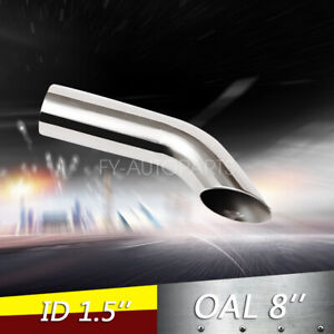 1 5 Polished Turn Down Exhaust Tip 1 1 2 Inlet 8 Long Stainless Steel