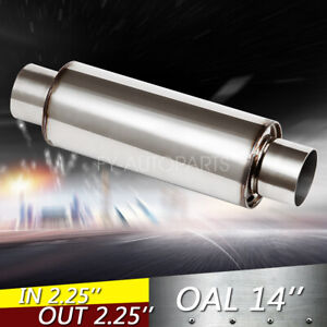 2 25 Inlet Outlet 10 Body Turbine Muffler Stainless Steel Straight Through