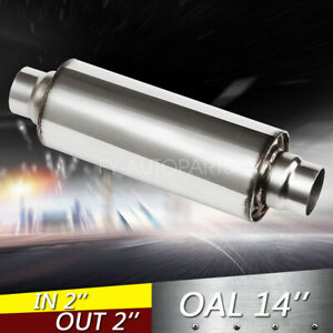 2 Inlet Outlet 10 Body Turbine Muffler Stainless Steel Straight Through