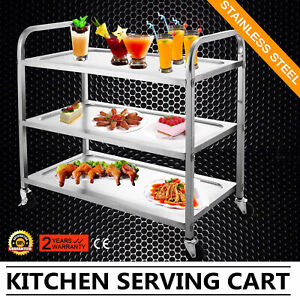 3 Tier Kitchen Stainless Steel Serving Cart Catering Utility Dolly Dining Wheels