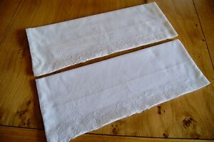 Pair Of Vintage White Cotton Pillowcases Machine Floral Embroidery To Ends P7